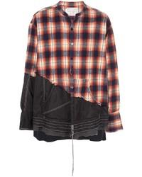 Greg Lauren Contrast Distressed Shirt