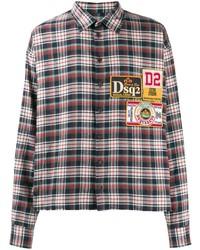 DSQUARED2 Plaid Logo Patch Shirt