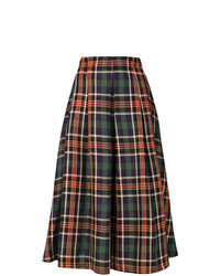 Multi colored Plaid Midi Skirt