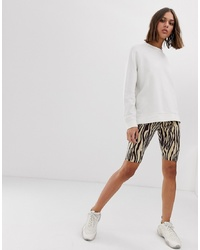 Weekday Zebra Print Legging Shorts In Beige