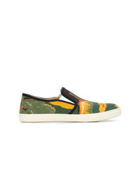 Multi colored Print Canvas Slip-on Sneakers