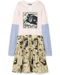 Prada Printed Cotton Jersey And Silk Mini Dress