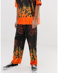 Jaded London Festival Co Ord Trousers In Black With Flame Print