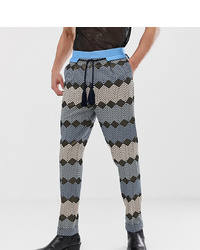 ASOS Edition Tall Tapered Smart Trouser In Blue Zig Zag Jacquard With Rope Belt