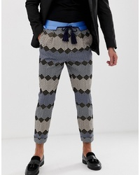 ASOS Edition Tapered Smart Trouser In Blue Zig Zag Jacquard With Rope Belt