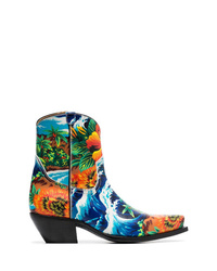R13 Multicoloured Hawaii 25 Printed Leather Boots