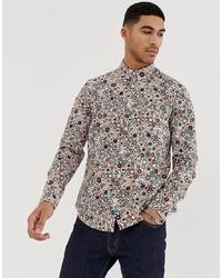 Pretty Green Target Print Slim Fit Shirt In Stone