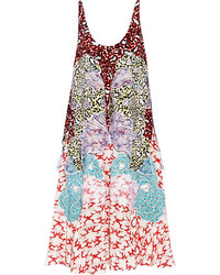 Stella McCartney Scarlet Appliqud Silk Crepe De Chine Midi Dress