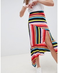 ASOS DESIGN Asymmetric Hem Midi Skirt In Stripe Print