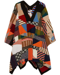 Chloé Patchwork Wool And Silk Blend Poncho