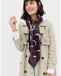 ASOS DESIGN Large Polysatin Headscarf In Scallop Print