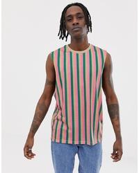 ASOS DESIGN Sleeveless T Shirt With Vertical Stripe