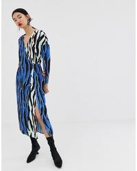 ASOS WHITE Animal Print Wrap Dress