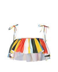 Tory Burch Balloon Stripe Ruffled Bikini Top