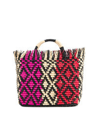 Multi colored Straw Tote Bag
