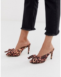 ASOS DESIGN Poppy Pointed High Heel Mules With Bow In Pink Leopard
