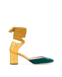 Rochas Yellow Blue Velvet Ankle Tie 70 Heels