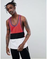 ASOS DESIGN Extreme Racer Back Vest With Colour Block In Mesh