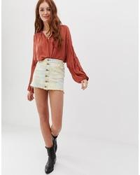 Glamorous Denim Skirt In Tie Dye