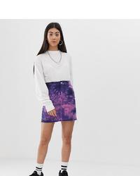 Collusion Petite Denim Mini Skirt In Tie Dye
