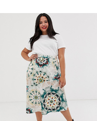 Neon Rose Plus Asymmetric Midi Skirt In Tie Dye Satin