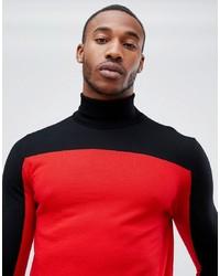 Hugo Santu Colour Block Knitted Roll Neck Jumper In Red