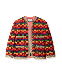 Gucci Embellished Flocked Striped Woven Jacket