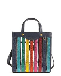 Multi colored Vertical Striped Leather Tote Bag