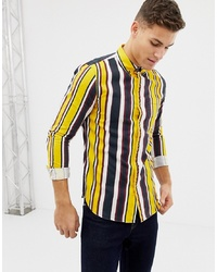 New Look Regular Fit Shirt In Yellow Stripe