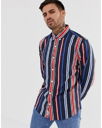 Original Penguin Striped Shirt With Collar In Red White And Blue