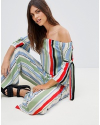 Multi colored Vertical Striped Off Shoulder Top
