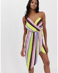 ASOS DESIGN Satin Drape Neck Midi Dress In Stripe