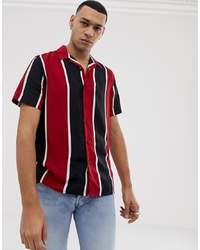 New Look Regular Fit Revere Shirt In Red Stripe
