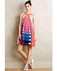 Multi colored Vertical Striped Swing Dress