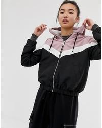 New Look Fleece Lined Zip Up Jacket In Pink And Black Chevron