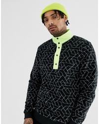 ASOS DESIGN Sweatshirt With Funnel Neck In Geo Printed Fleece