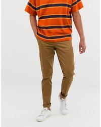 ASOS DESIGN Skinny Smart Trouser In Brown Cotton
