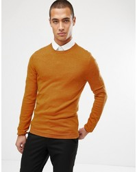 ASOS DESIGN Muscle Fit Merino Wool Jumper In Mustard