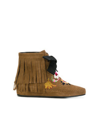 Etro Fringed Embroidered Ankle Boots