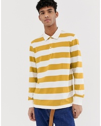 Weekday Elmer Striped Polo In Yellow