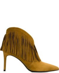 Mustard Leather Ankle Boots