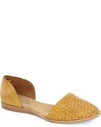 Mustard Leather Ballerina Shoes
