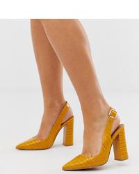 ASOS DESIGN Wide Fit Penley Slingback High Heels In Croc Print