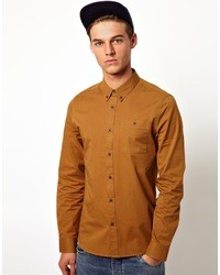 Twill shirt in long sleeve brown medium 13153
