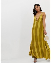 ASOS DESIGN Trapeze Maxi Dress With Plunge Neck In Soft And Solid Stripe