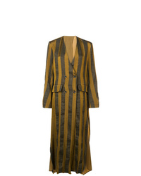Uma Wang Striped Single Breasted Coat