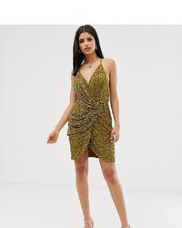 Asos Tall Asos Design Tall Allover Sequin Drape Mini Dress With Horn