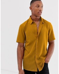 ASOS DESIGN Regular Fit Textured Stripe Shirt In Mustard With Revere Collar