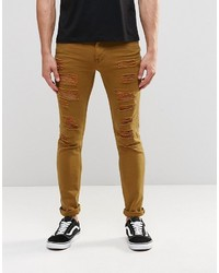 Asos Brand Super Skinny Jeans With Extreme Rips In Brown