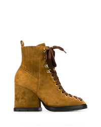 Mustard Suede Lace-up Ankle Boots
